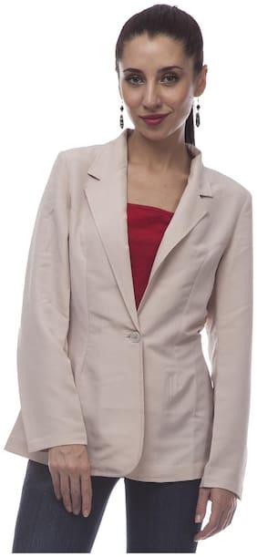 @499 Women Solid Regular Fit Blazer - Beige