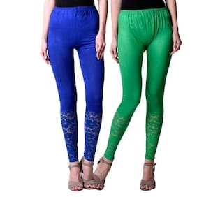 NumBrave Blue And Green Viscose Net Tights For Women (Combo of 2)
