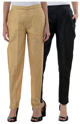 8790a1def88be8 Buy NumBrave GoldenBlack Raw Silk Pants (Combo of 2) Online at Low ...