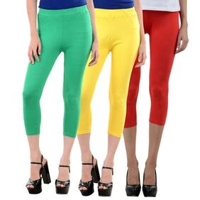 NumBrave Green,Yellow,Red Cotton Lycra Capri-3/4th Legging For Women (Combo of 3)