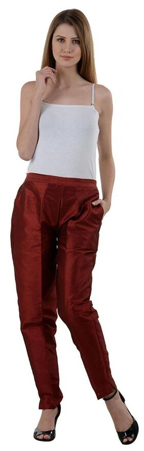NumBrave Maroon Raw Silk Pants