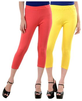 NumBrave Peach,Yellow Cotton Lycra Capri-3/4th Legging For Women (Combo of 2)