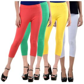 NumBrave Peach,Green,Yellow,White Cotton Lycra Capri-3/4th Legging For Women (Combo of 4)