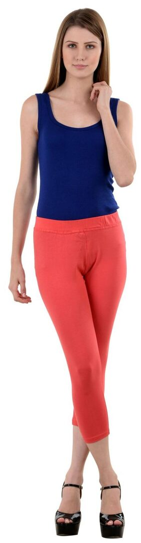 NumBrave Peach Cotton Lycra Capri-3/4th Legging For Women