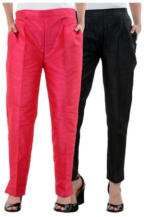 NumBrave PinkBlack Raw Silk Pants (Combo of 2)