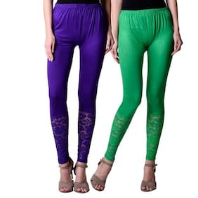 NumBrave Purple And Green Viscose Net Tights For Women (Combo of 2)