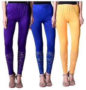 NumBrave Purple,Blue,Yellow Viscose Net Tights For Women (Combo of 3)