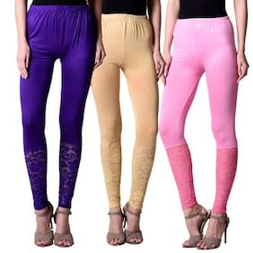 NumBrave Purple,Beige,Pink Viscose Net Tights For Women (Combo of 3)