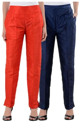 NumBrave RedNavyBlue Raw Silk Pants (Combo of 2)