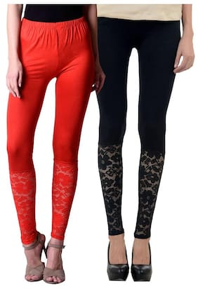 NumBrave Red And Black Viscose Net Tights For Women (Combo of 2)