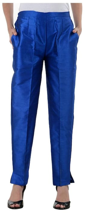 NumBrave Royalblue Raw Silk Pants