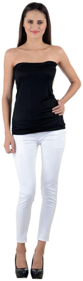 NumBrave Women Blended Solid - Regular tunic White