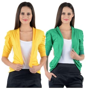 NumBrave Yellow And Green Cotton Shrug