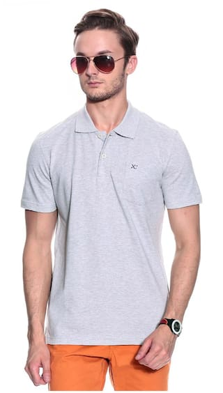 f6ed477a Buy Numero Uno Men Loose Fit Polo Neck Solid T-Shirt - Grey Online ...
