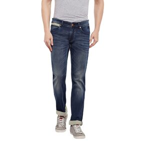 Numero Uno Mens Blue Slim Fit Low Rise Jeans