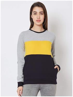 NUN Blended Color-Blocked Multi Color Sweatshirt for Women