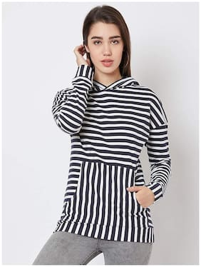 NUN Women Striped Hoodie - Blue & White