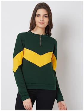 NUN Fashion Women Regular Fit Sweatshirt Green;Yellow