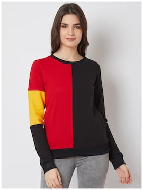 NUN Fashion Women Regular Fit Sweatshirt Red;Black