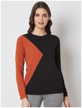 NUN Fashion Women Regular Fit Sweatshirt Black;Orange