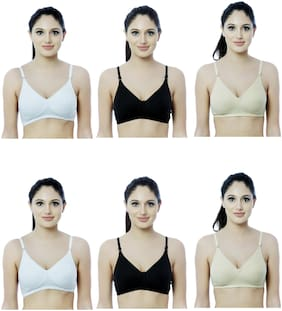 NutexSangini Set of 6 Non Padded Cotton Backless Bra - Multi