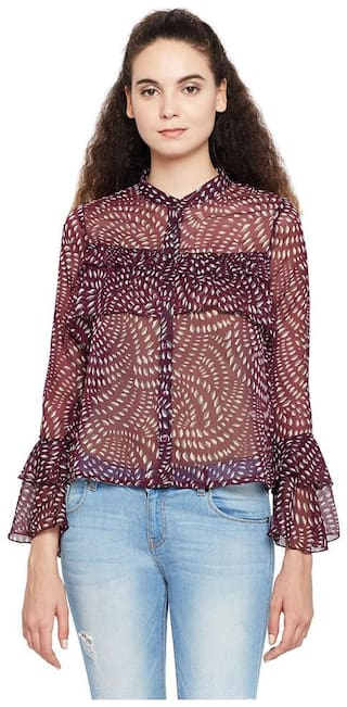 OXOLLOXO Women Maroon Printed Regular Fit Shirt