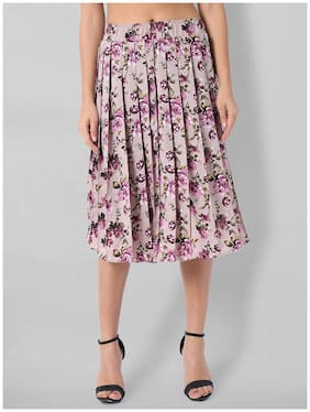 O Madam Crepe Floral Multi Pleated Skirt  For Women