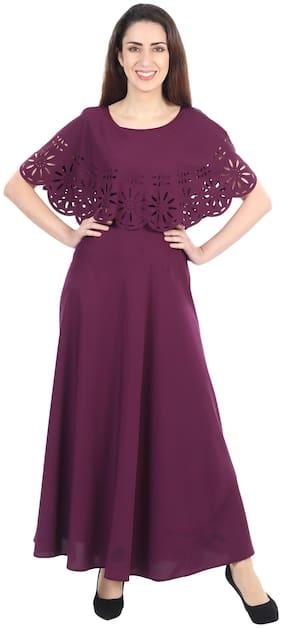 O Madam Purple Solid Maxi dress