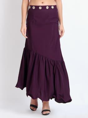 O Madam Solid Flared skirt Maxi Skirt - Purple