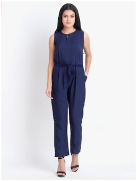 O Madam Solid Jumpsuit - Blue