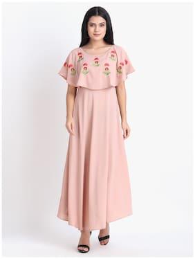 O Madam Pink Embroidered Maxi dress