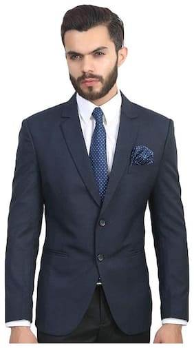 oaks & Dew Men Navy blue Solid Regular fit Double Breasted Blazer