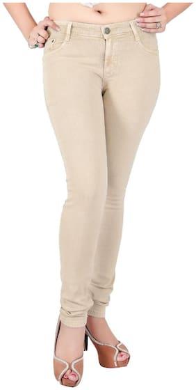 Obeo Women Beige Slim fit Jeans