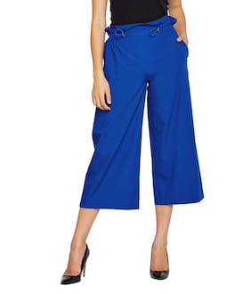 OXOLLOXO Women Regular Fit Mid Rise Solid Pants - Blue