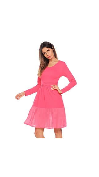 Fit Casual Flare Sleeve Long Women Neck V Small Dress Ruched OD'lover and Waist Pleated wvpq04