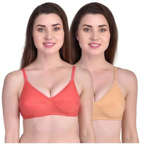 Oen Cotton Solid Red;Golden Color Bra For Women (Pack Of 2)