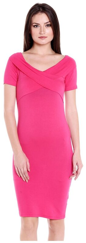 Globus Cotton Solid A-line Dress Pink