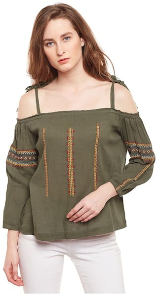 Oxolloxo Women Floral A-line top - Green