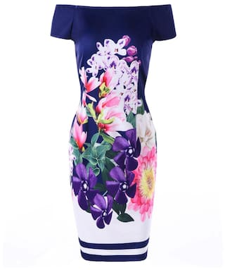 Flower Dress Shoulder Bodycon Off Print The wxUz8qE