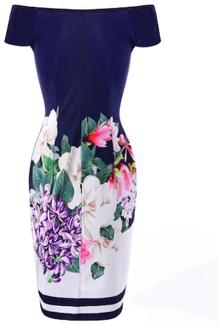 Off Flower Dress Print Shoulder The Bodycon 4n7Tvx