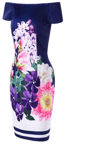 Bodycon Print Off Flower Shoulder The Dress qvwCF