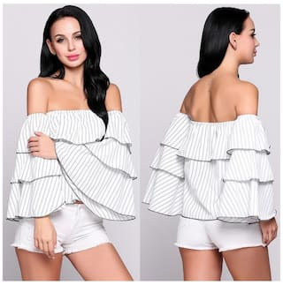 Off the Shoulder Stripes Ruffles Slash Neck Long Butterfly Sleeve Pullover Top