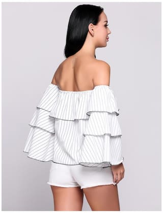 Pullover Stripes Off Top Ruffles Shoulder Slash Butterfly the Sleeve Long Neck qqz4rwAnP