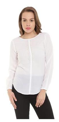 The Vanca Off White Casual Top With Embellishment At Neck
