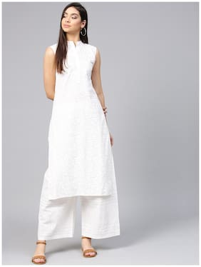 Off white printed sleeveless cotton kurta with ankle length pallazo