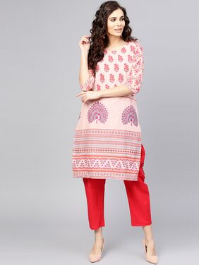 AASI- HOUSE OF NAYO Women Cotton Printed Straight Kurta - White