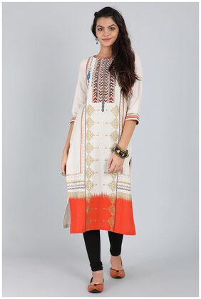 Off-White Round Neck Printed Kurta
