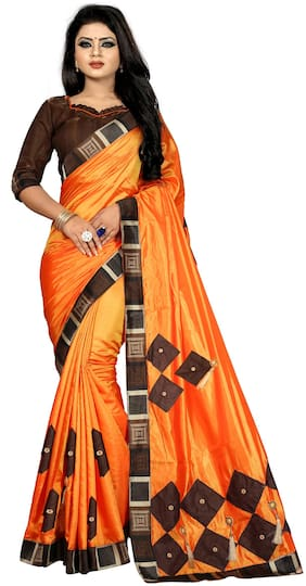 OFLINE SELECTION Chiffon & Cotton Banarasi & Dupion Block print work Saree - Orange , With blouse