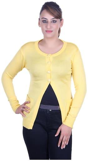 Ogarti Women Solid Cardigan - Yellow
