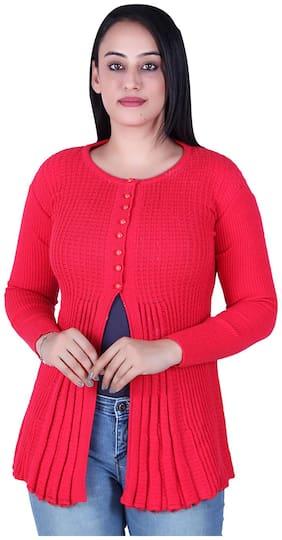 Ogarti Women Self Design Cardigan - Pink